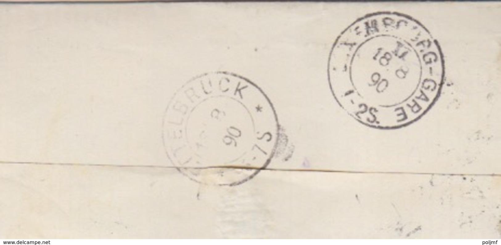 C Lettre Obl. Paliseul Le 18 Aout 1890 Sur 10c Rose/azuré X 2 = Tarif étranger Pour Ettelbruck - 1884-1891 Leopold II