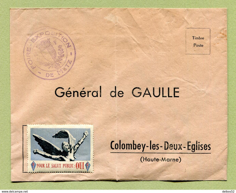 METZ  (57) :  VIGNETTE Sur LETTRE Adressée Au Général DE GAULLE - Vignettes Militaires