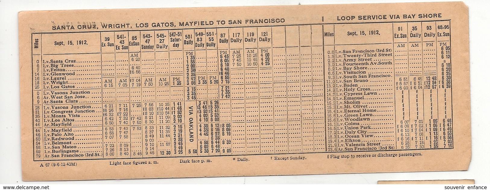 Horaire Southern Pacific Peninsula Service Francisco Easton San José Mateo Palo Alto Bay Shore 1912 Wright Etats Unis - World