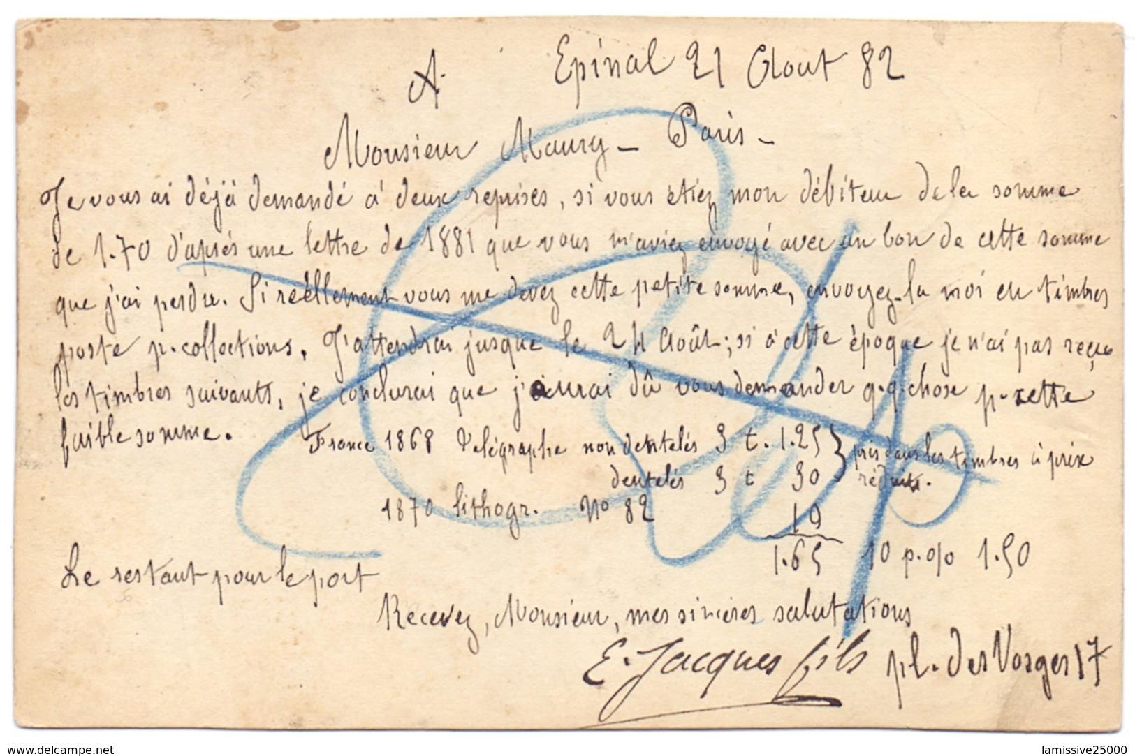 France Découpure De Carte Type Sage Collé Sur Une Carte D Epinal Vosges Pour Paris Sans Taxe Rare - Entiers Postaux