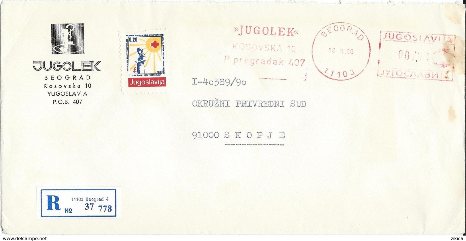 """Yugoslavia EMA Machine Stamp ,,JUGOLEK """" 1990 - Motive - Pharmacy, Medicine, Health - 1945-1992 Repubblica Socialista Federale Di Jugoslavia"""
