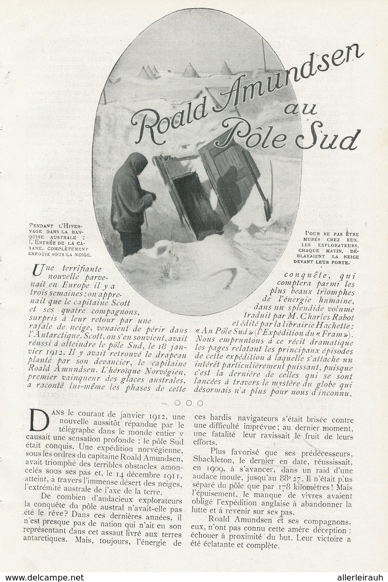 Roald Amundsen Au Pole Sud /  Article , Pris D`un Magazine / 1912 - Ohne Zuordnung