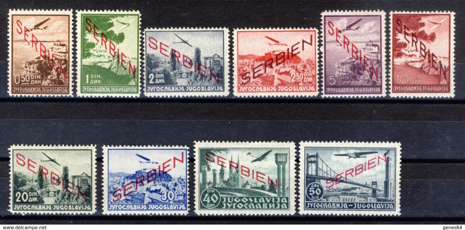 1941 - Occupazione Tedesca - Francobolli Di Posta Aerea Di Jugoslavia Soprastampati SERBIEN - Nuovi MLH* - Serbia