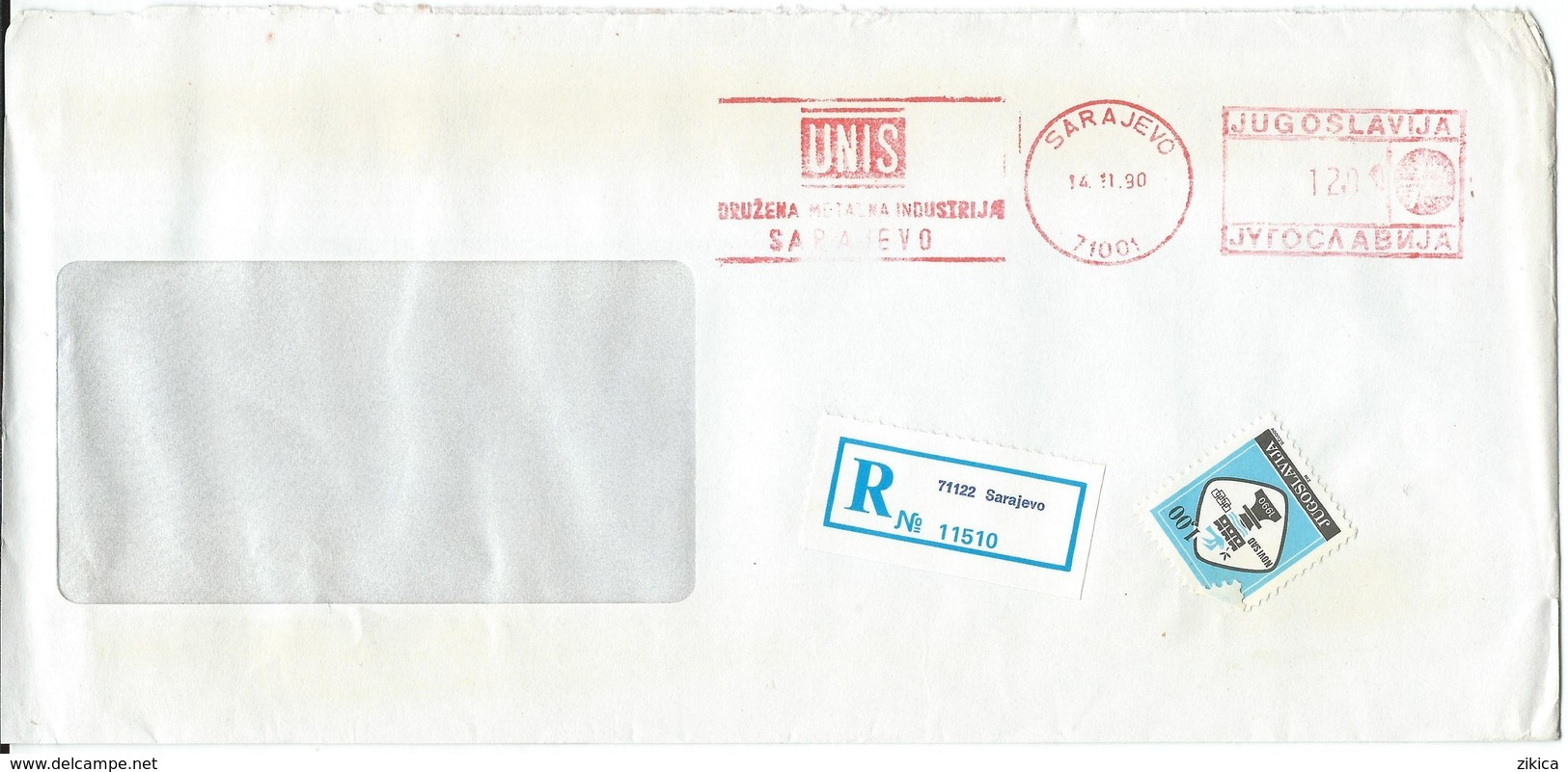 "Yugoslavia EMA Machine Stamp ,,UNIS Sarajevo "" 1990 - Motive - BICYCLE,BIKE - 1945-1992 Repubblica Socialista Federale Di Jugoslavia"
