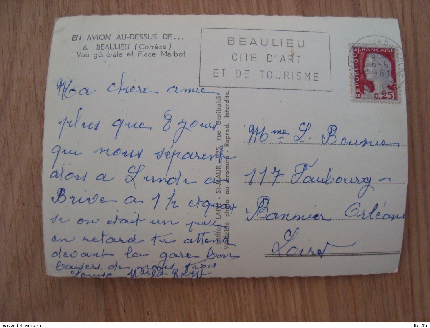 CP BEAULIEU 19 VUE GENERALE ET PLACE MARBOT - France
