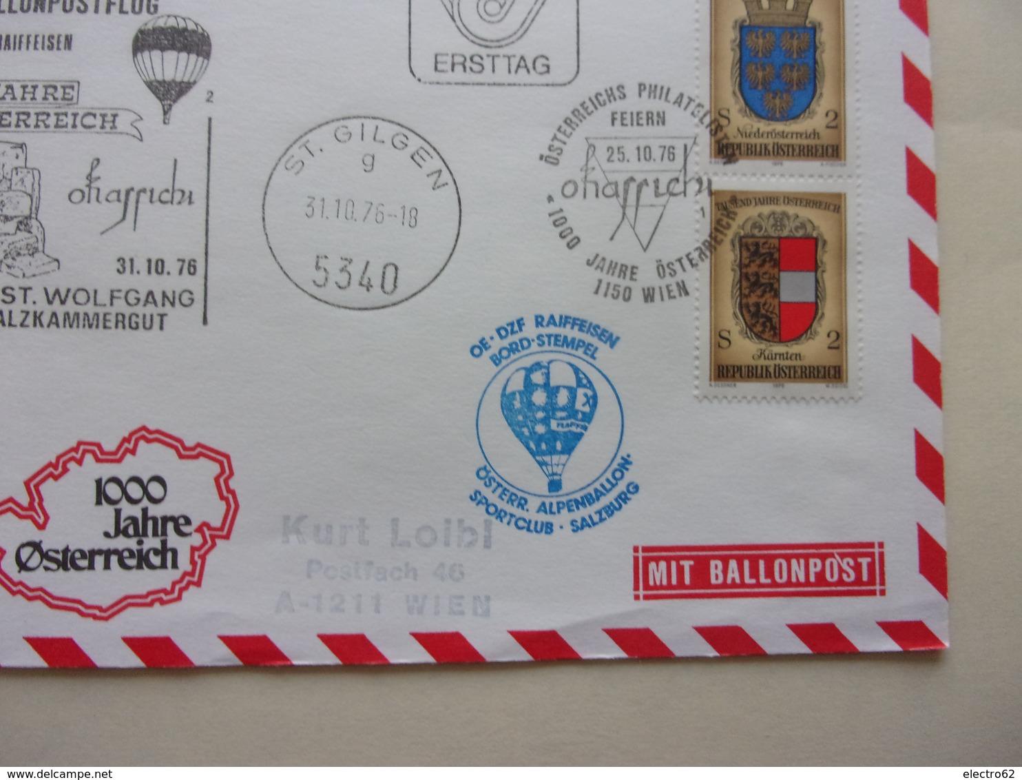 Enveloppe Montgolfiéres, Ballonpost, Les 1000 Ans De L'Autriche Österreich MIT BALLONPOST - Montgolfières