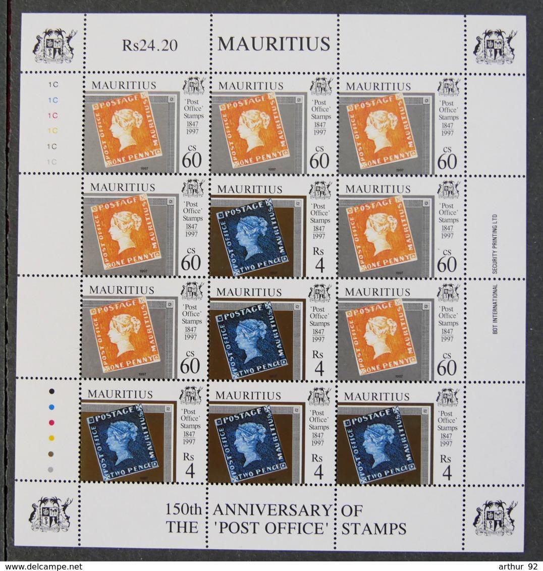 """ILE MAURICE - MAURITIUS - 1997 - YT 885 à 886 (feuille) - 150è ANNIVERSAIRE DES TIMBRES """"post Office"""" - Mauritius (1968-...)"""