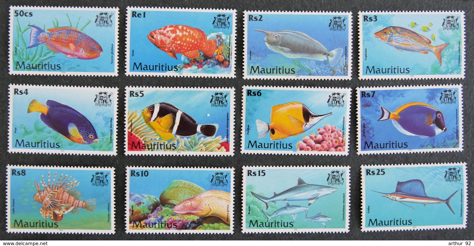 ILE MAURICE - MAURITIUS - 2000 - YT 946 à 957 ** - SERIE COURANTE - POISSONS - Mauritius (1968-...)