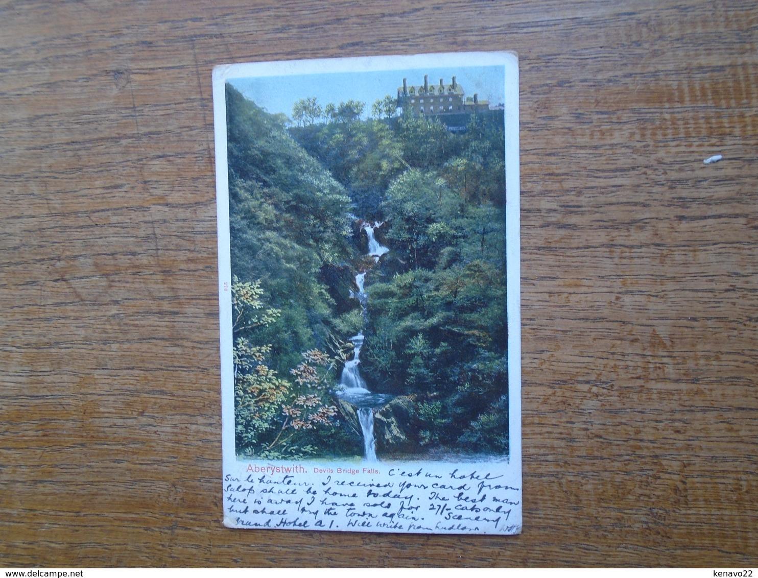 """Cartes Assez Rare De 1905 , Pays De Galles , Aberyswith , Devils Bridge Falls """" Beau Petit Timbre """" - Pays De Galles"""