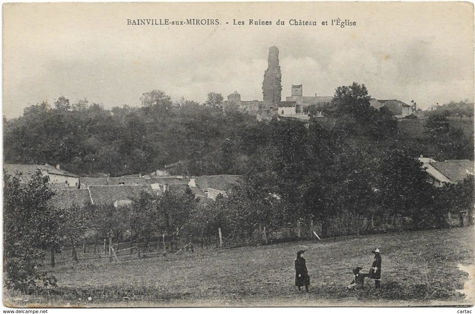 D54 - BAINVILLE AUX MIROIRS - LES RUINES DU CHÂTEAU ET L'EGLISE - Jeunes Enfants - Autres Communes