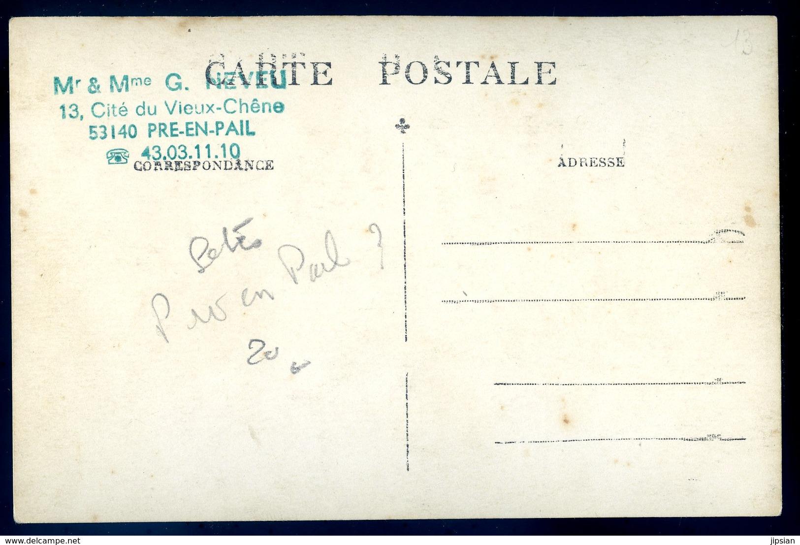 Cpa Carte Photo Du 53 Fête Avec Char Fleuri -- Photographe Davoust Pré En Pail Collection Neveu ACH14 - Pre En Pail