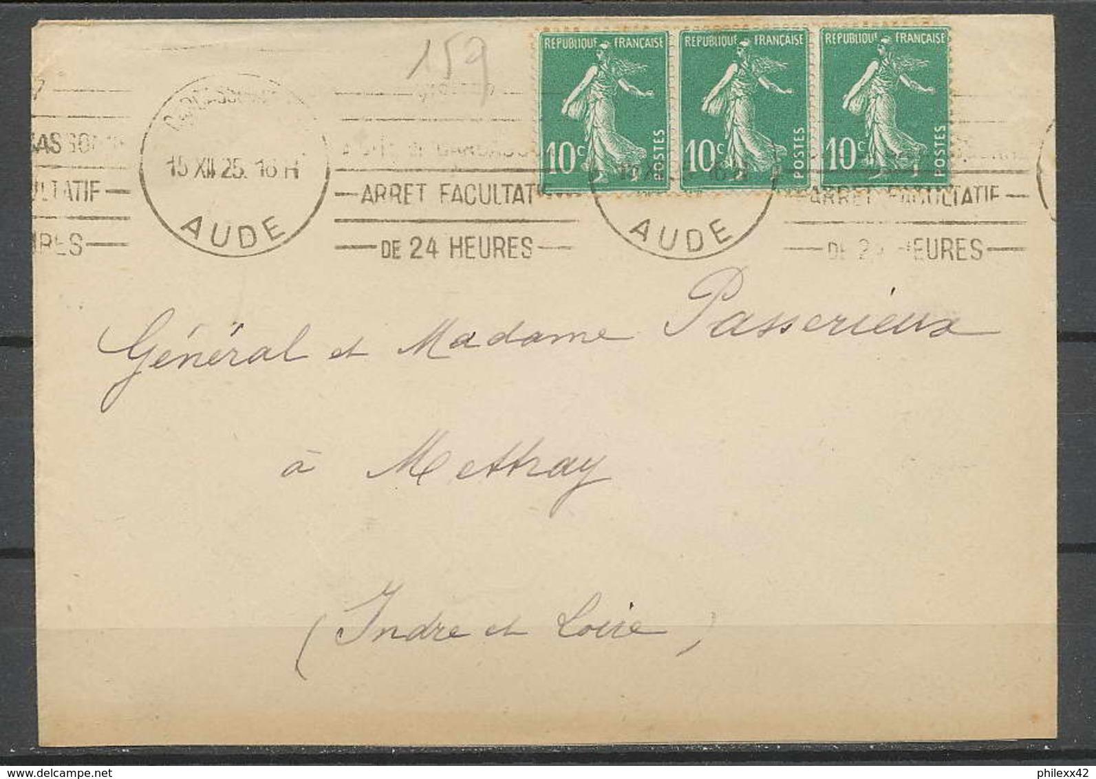 1502 Lettre (cover) N°159 10c Vert Semeuse Bande 3 X3 KRAG 12/12/1925 Aude Pour Meythet Indre Et Loire - Postmark Collection (Covers)