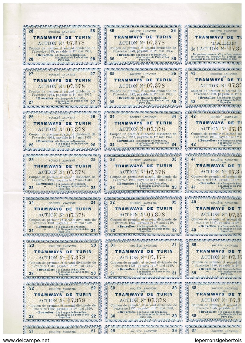 Action Ancienne - Sté Anonyme Des Tramways De Turin - Titre De 1905 N° 07.378 - Chemin De Fer & Tramway