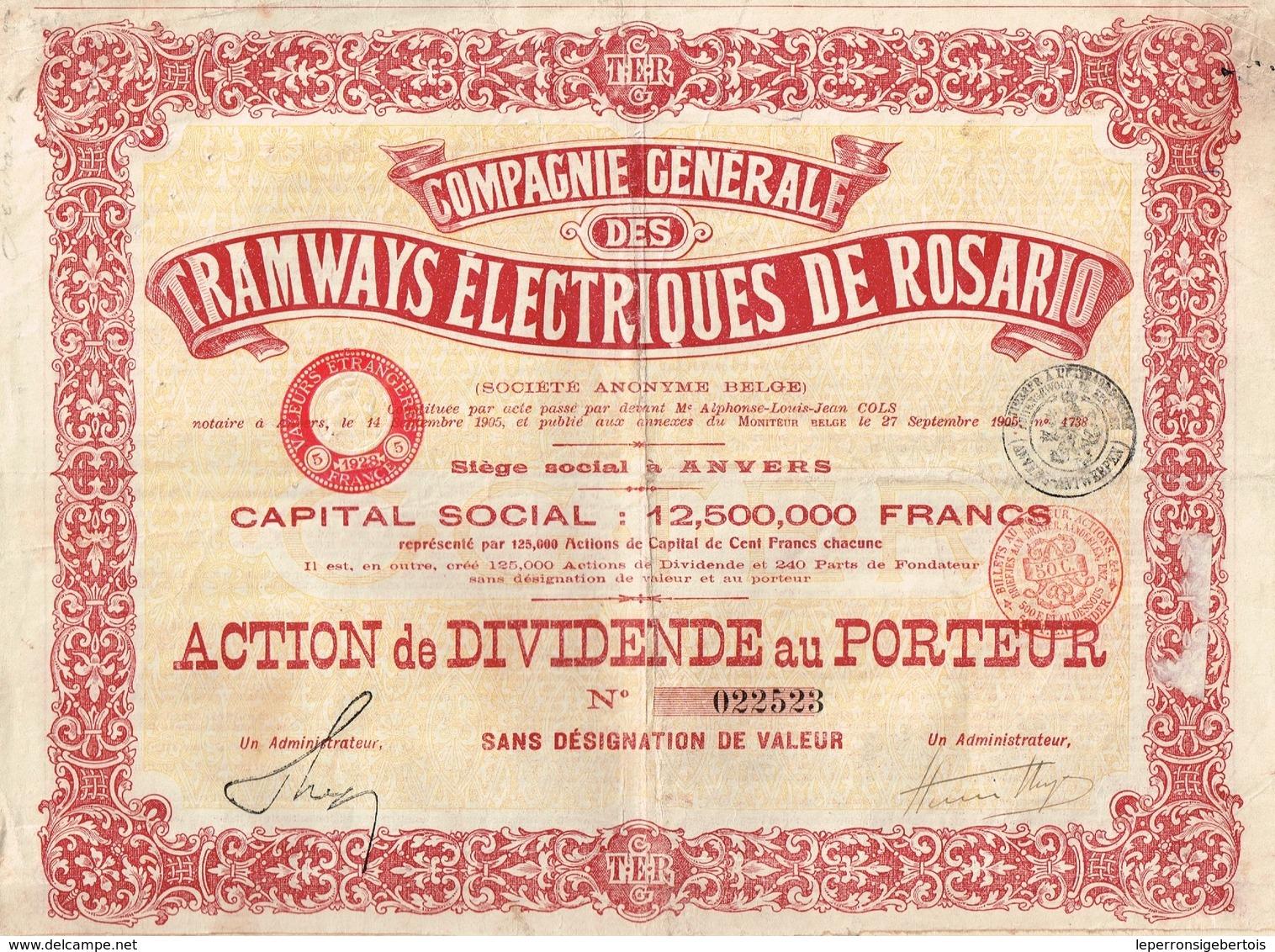 Action Ancienne - Compagnie Générale DesTramways Electriques De Rosario - Titre De 1905 - Chemin De Fer & Tramway