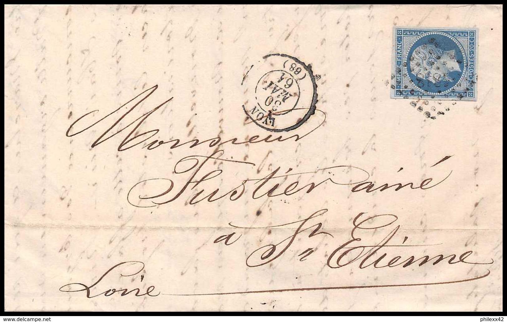 7202 LAC 1861 N 14B Napoleon 20c TB Pc 1818 Lyon Rhone St Etienne Loire France Lettre Cover - Marcophilie (Lettres)