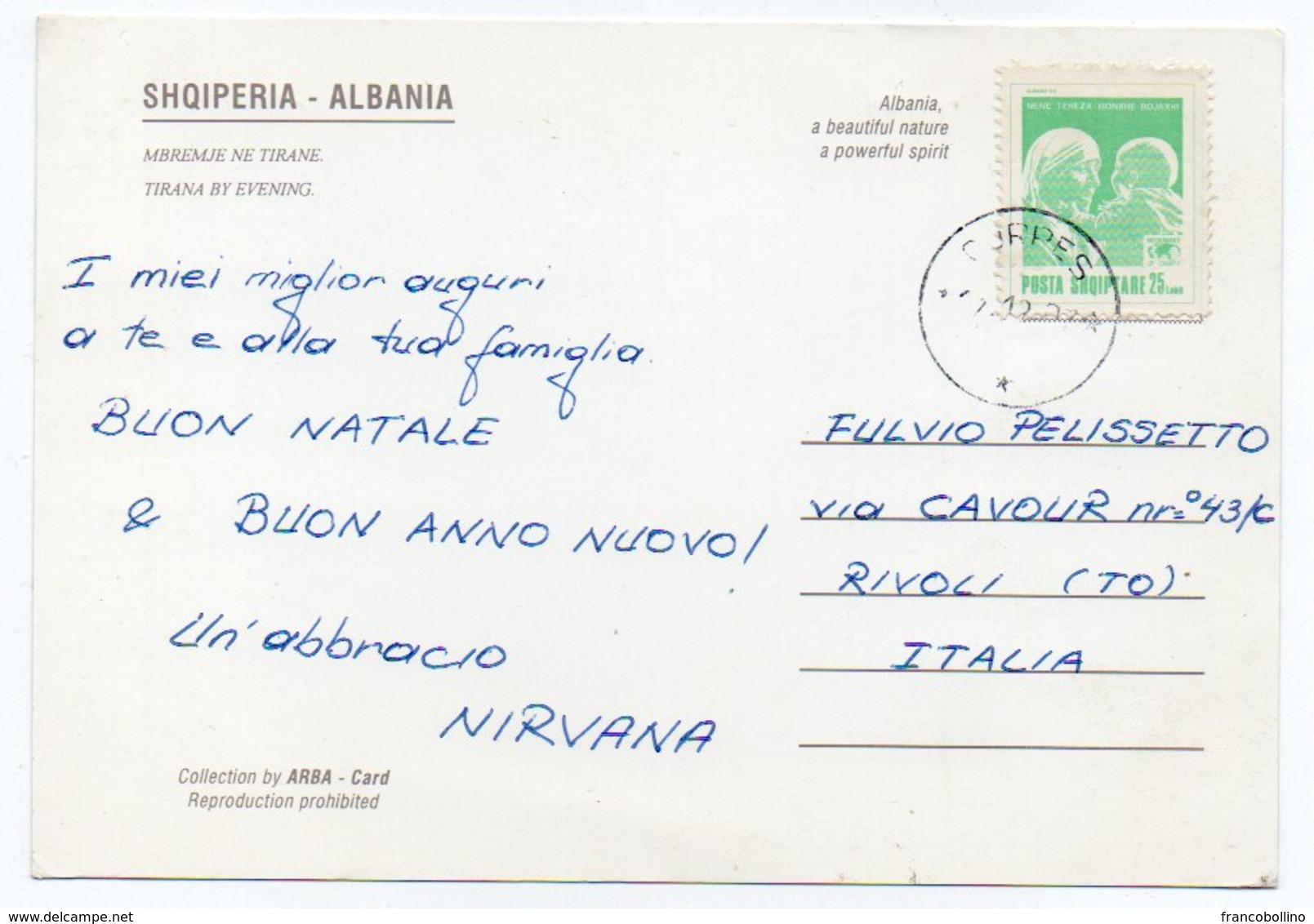 ALBANIE/ALBANIA - EVENING IN TIRANA / TIRANE / THEMATIC STAMP - MOTHER TERESA - Albania