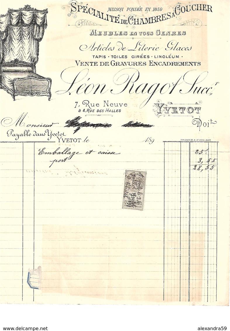 Facture Spécialité De Chambres à Coucher à Yvetot En 1890 ( BONUS TIMBRE° - Francia
