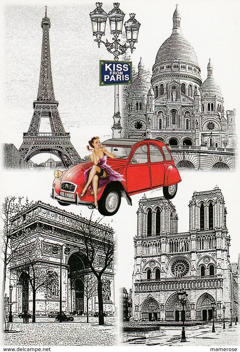 PIN-UP Sur Une CITROËN 2 Cv ROUGE. Illustrations: TOUR EIFFEL, SACRE COEUR, ARC DE TRIOMPHE, NOTRE-DAME. KISS FROM PARIS - Passenger Cars