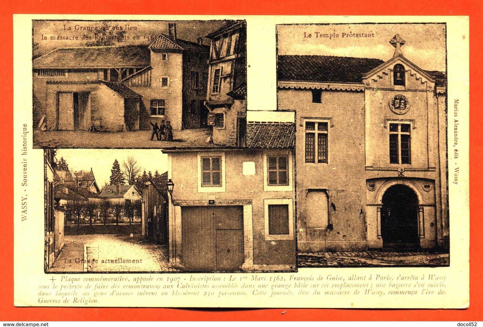 """CPA 52 Wassy """" Souvenir Historique - Carte Multivues """" - Wassy"""
