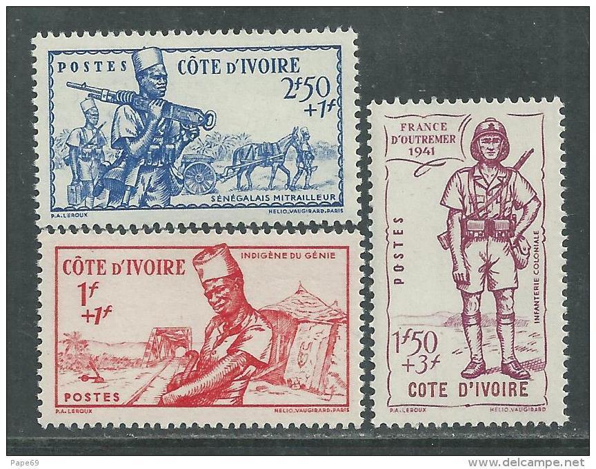 Cote D'Ivoire N° 162 / 64 X Défense De L'empire Les 3 Valeurs Trace De  Charnière Sinon TB - Nuovi