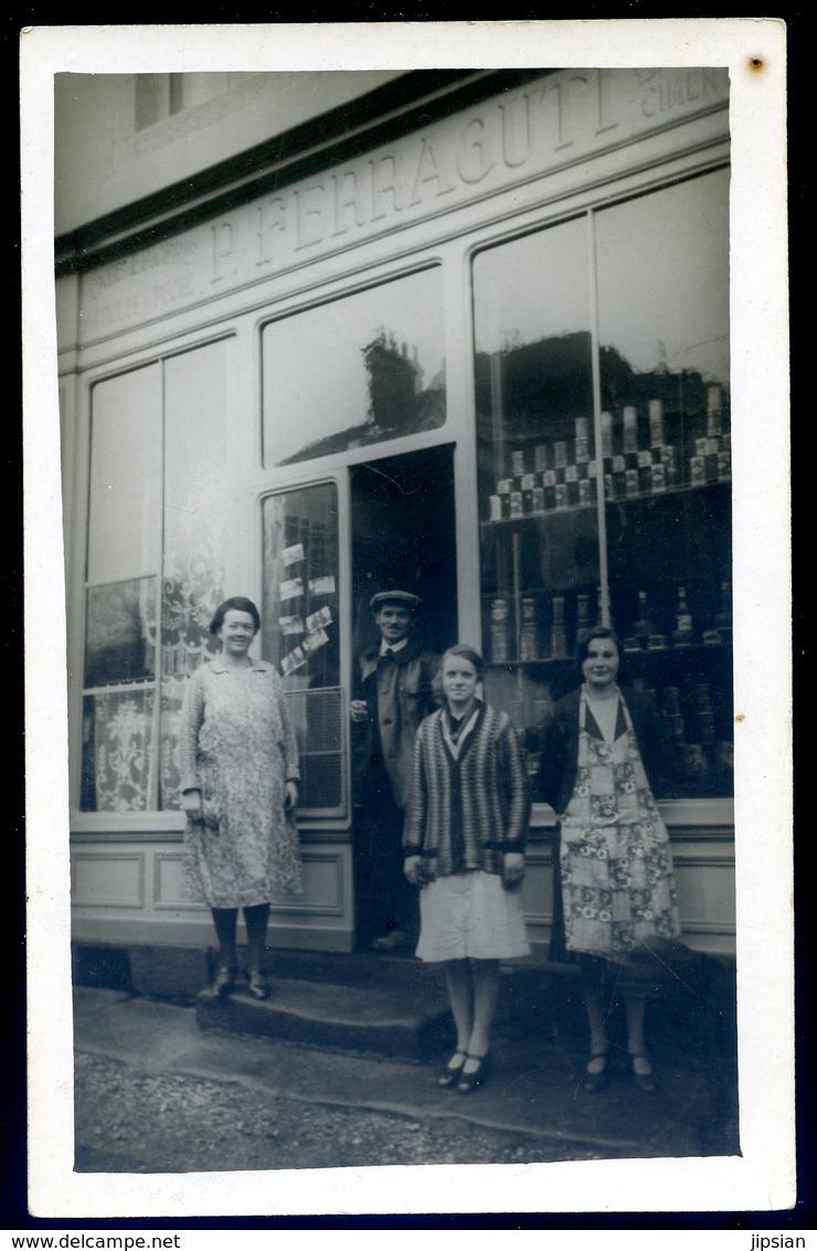 Cpa Carte Photo Du 53 P. Ferraguti Café Du Marché --- Collection Neveu Pré En Pail   ACH14 - Pre En Pail
