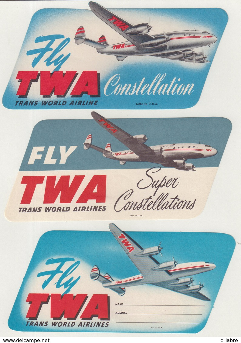 ETIQUETTES A BAGAGES  : USA . FLY TWA . - Étiquettes à Bagages