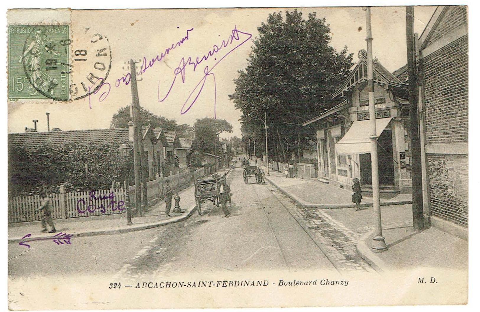 33 Arcachon Saint Ferdinand - Boulevard Chanzy, Animé, édit M D 324. Daté 1918. Tb état - Arcachon