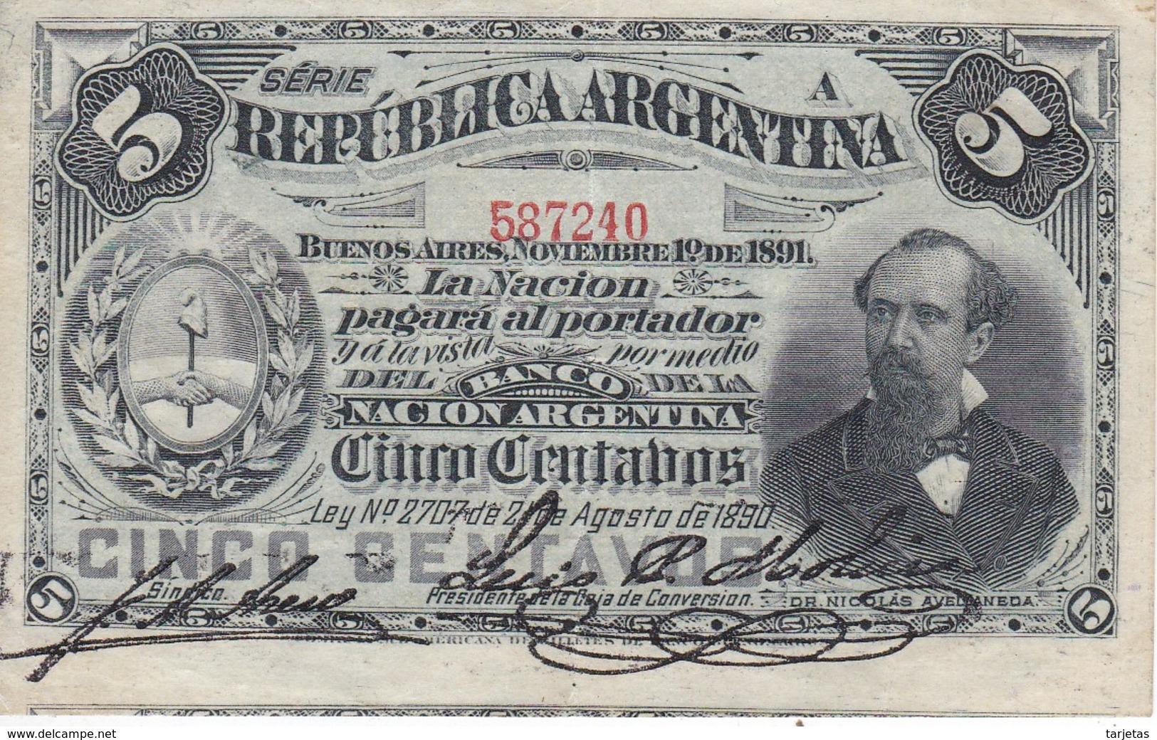 BILLETE DE ARGENTINA DE 5 CENTAVOS DEL AÑO 1891  (BANKNOTE) - Argentina
