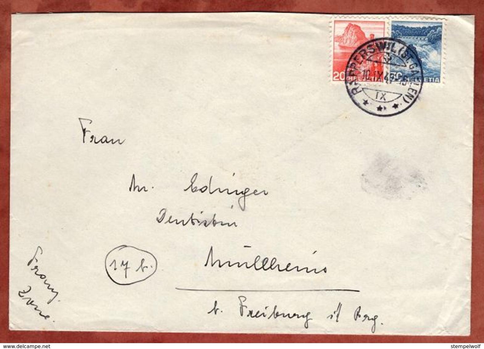 Brief, MiF Rheinfall Schaffhausen U.a., Rapperswil Nach Muellheim 1947 (71636) - Switzerland