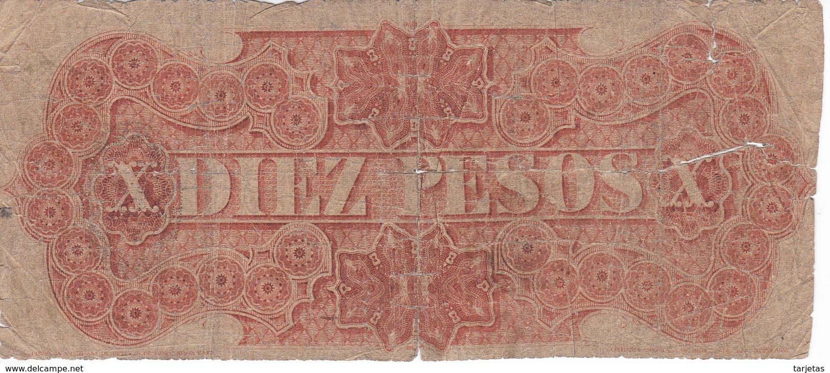 BILLETE DE URUGUAY DE 10 PESOS DEL AÑO 1867 SERIE B  (BANK NOTE) UN DOBLON DE ORO SELLADO (rotura) - Uruguay