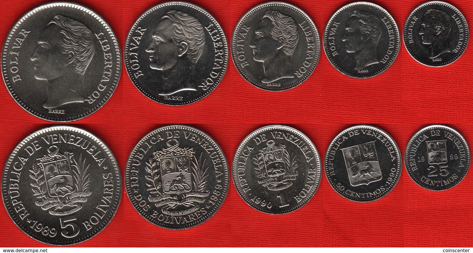 Venezuela Set Of 5 Coins: 25 Centimos - 5 Bolivares 1989-1990 UNC - Venezuela