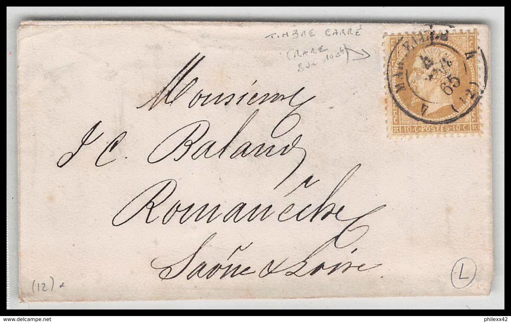 LsC Lettre-0344 Bouches Du Rhone Marseille Napoléon N°21 Cad T15 Timbre Petit Format 1865 - 1849-1876: Classic Period