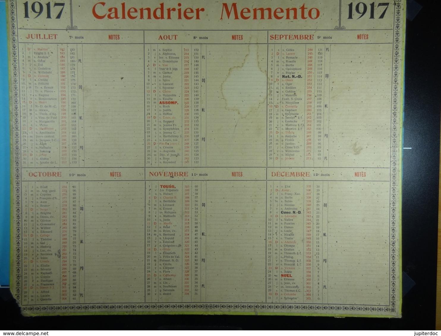 Calendrier Memento 1917 Sur Carton 2 Faces (Format : 42,5 Cm X 34,5 Cm) - Calendari
