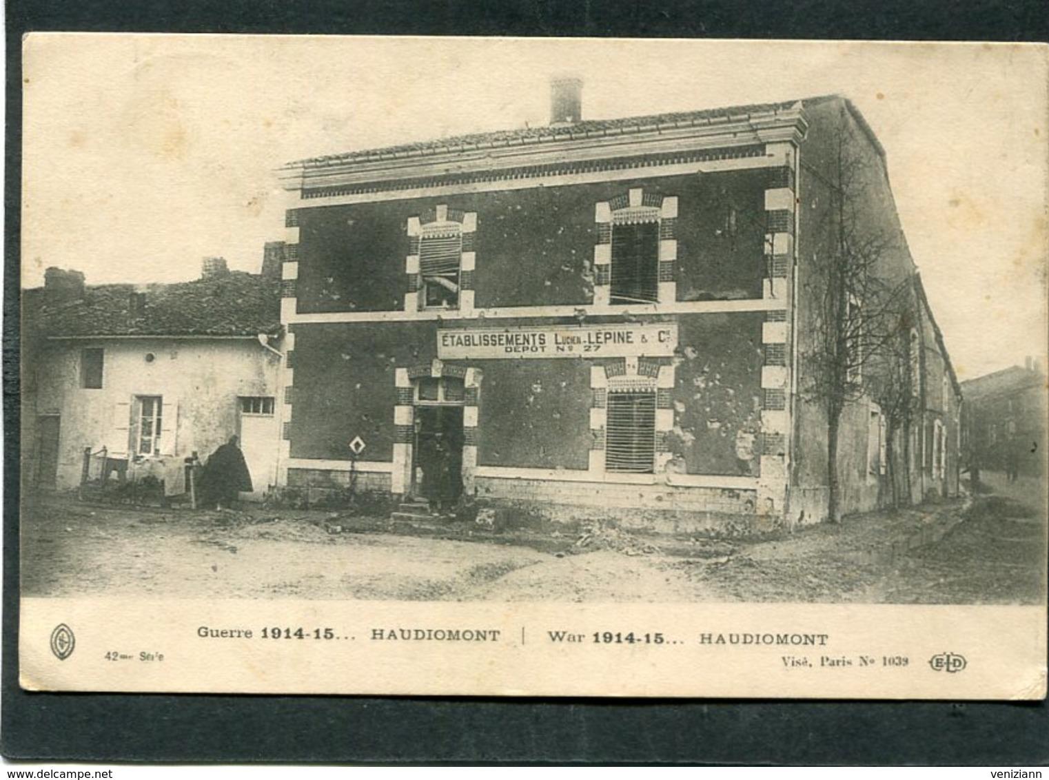 CPA - Guerre 1914-15... HAUDIOMONT - Ets Lépine, Dépôt N°27 - Guerre 1914-18