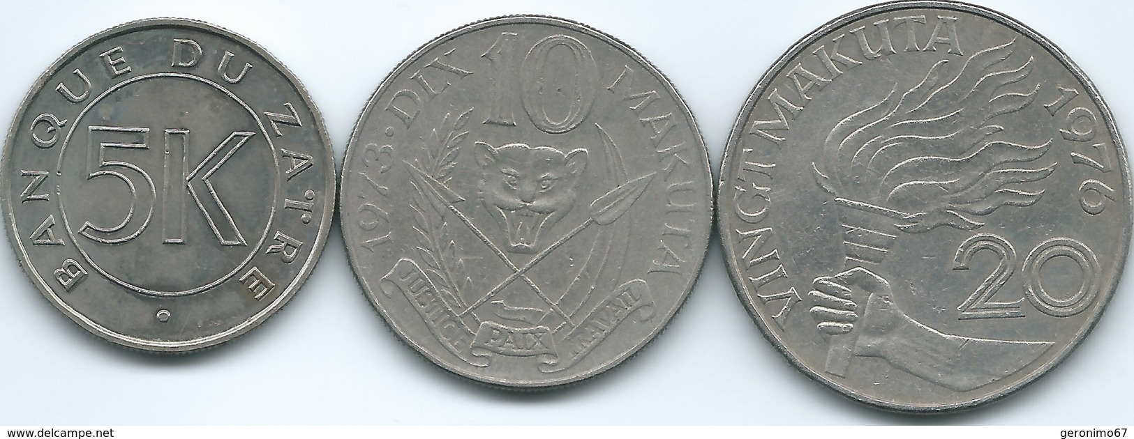 Zaire - 5 Makuta - 1977 (KM12); 10 Makuta - 1973 (KM7) & 20 Makuta - 1976 (KM8) - Zaire (1971-97)