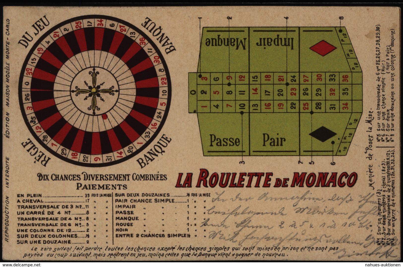Ansichtskarte Monaco Spielkasino Roulette Nach Paderborn 1904 - Ohne Zuordnung