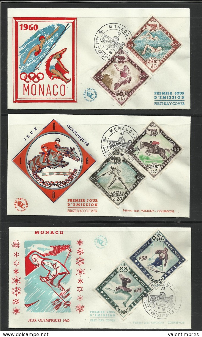 Monaco JO 1960 Rome Squaw Valley 3  FDC équitation Cheval Javelot Natation Saut Longueur Ski Patinage - Zomer 1960: Rome