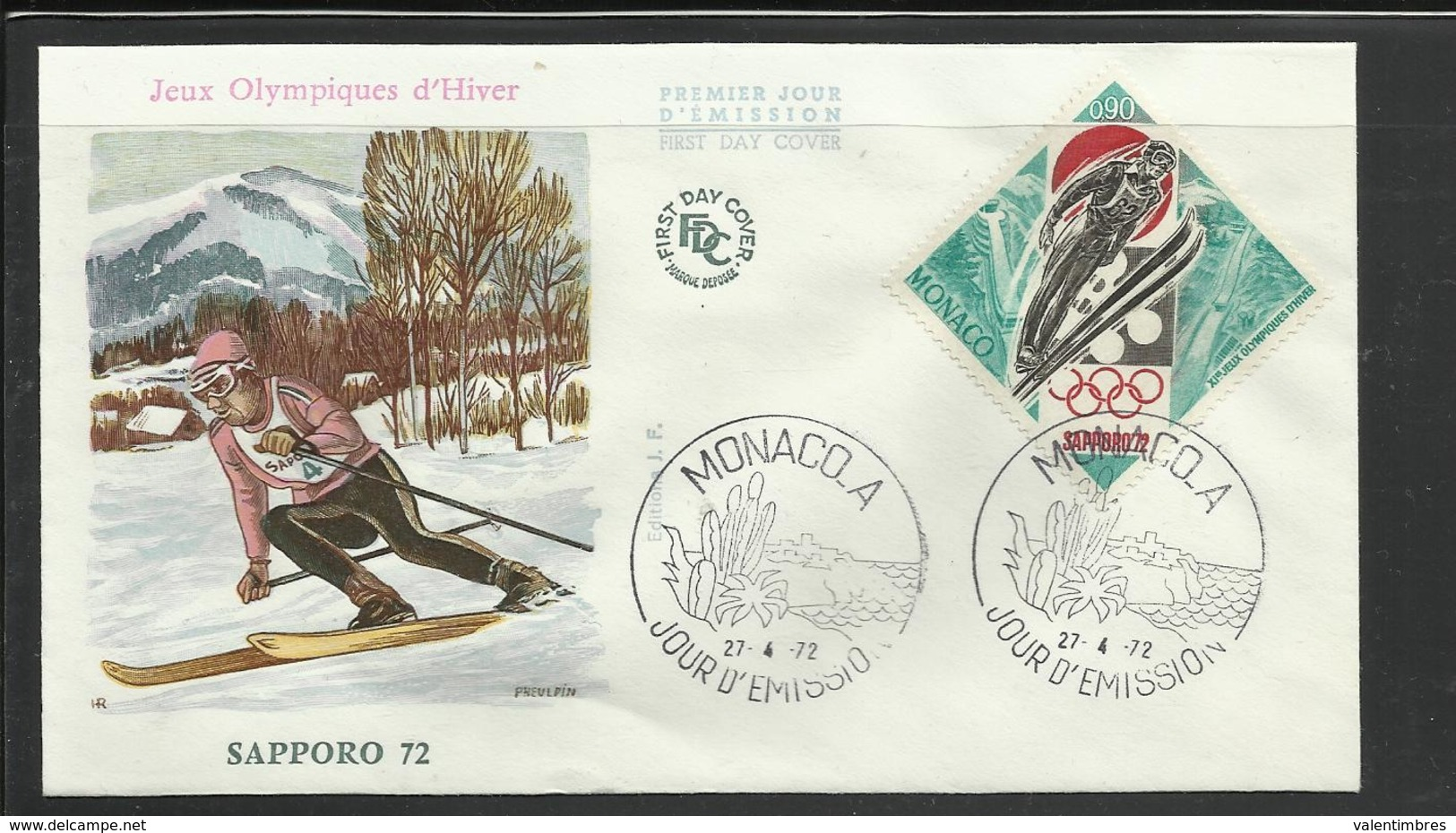 Monaco JO 1972 Sapporo  FDC  Ski Skieur Ref 9 - Winter 1972: Sapporo