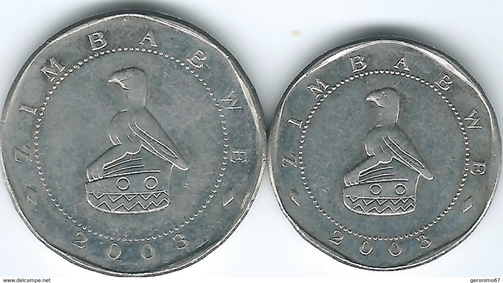 Zimbabwe - 2003 - 10 Dollars (KM14) & 25 Dollars (KM15) - Zaire (1971-97)