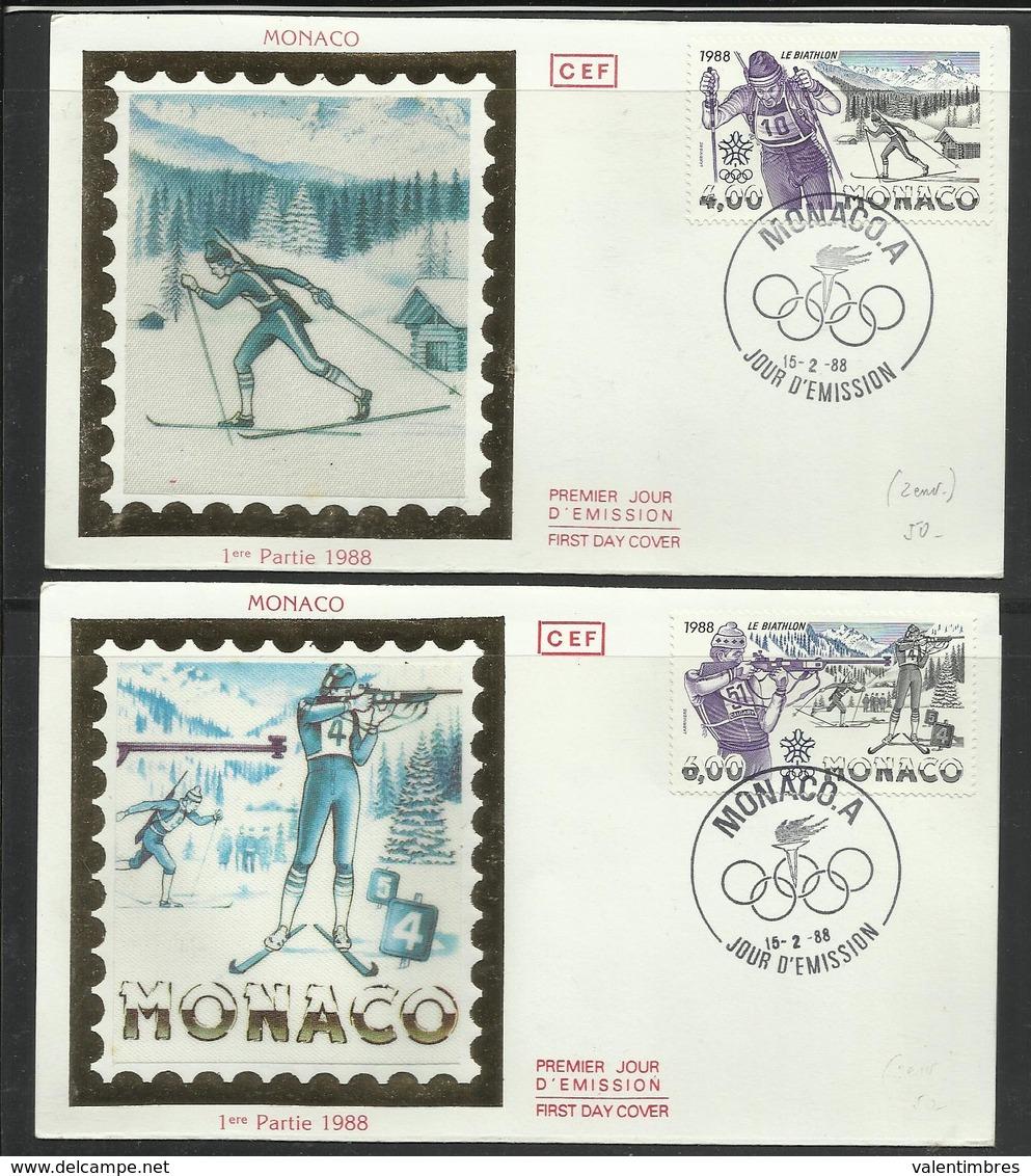 Monaco JO 1988 Calgary 2  FDC Biathlon - Winter 1988: Calgary