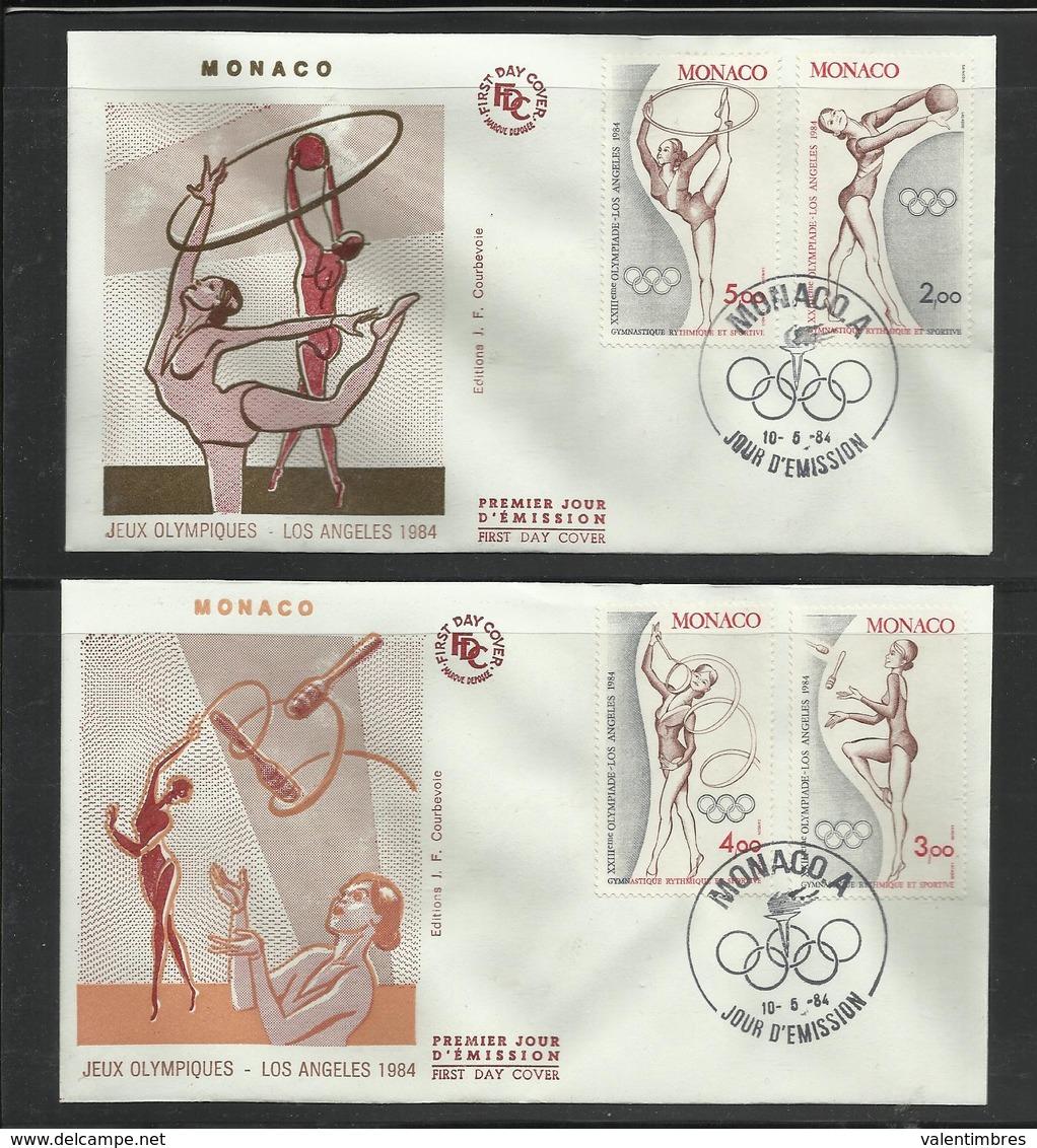 Monaco JO 1984 Los Angeles  2  FDC Gymnastique Rythmique Et Sportive - Zomer 1984: Los Angeles