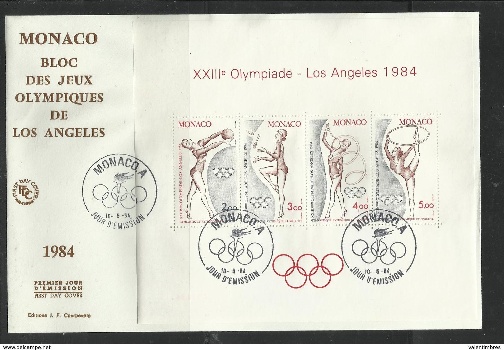 Monaco JO 1984 Los Angeles  FDC Bloc Feuillet  Gymnastique Rythmique Et Sportive - Zomer 1984: Los Angeles