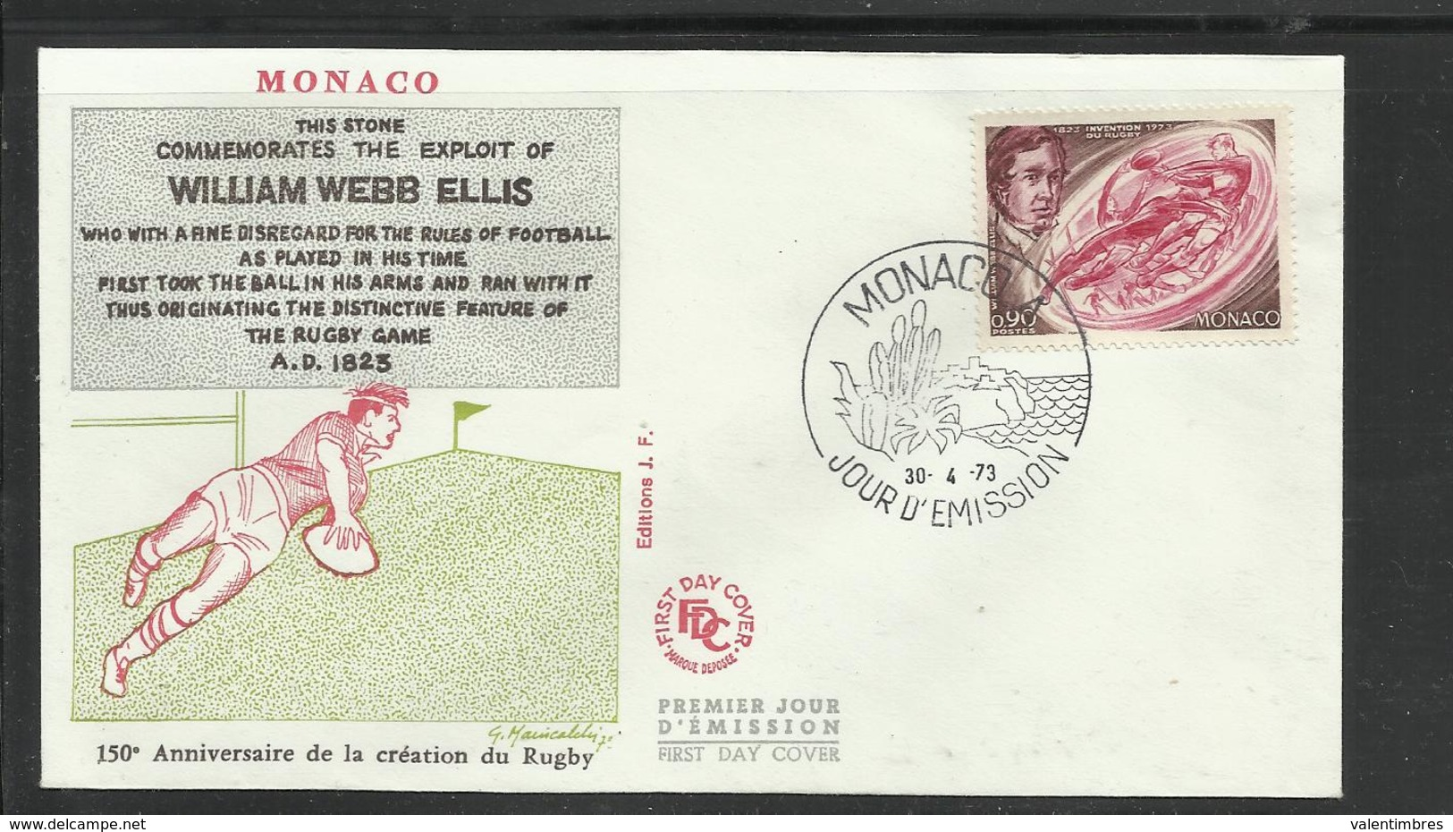 Monaco  FDC  Rugby  30.4.1973 Ref 11 - Rugby
