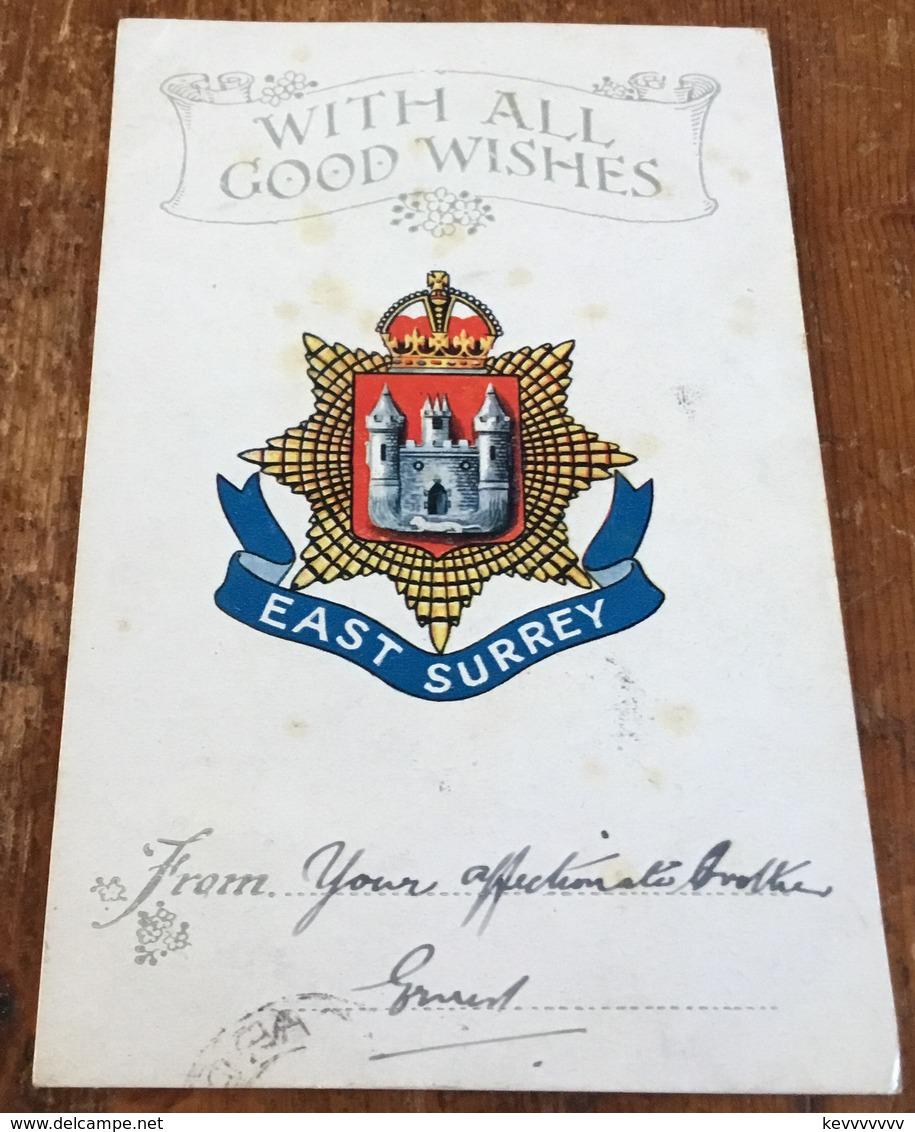 East Surrey Regiment ~ With All Good Wishes ~ Postmark 23rd Dec. 1915 - Regiments