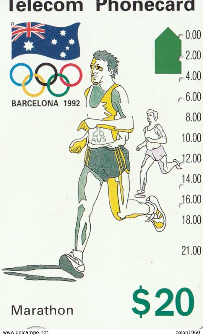 TARJETA TELEFONICA DE AUSTRALIA, BARCELONA 1992 - Marathon (91045-4-2). AUS-M-053a. (103) - Jeux Olympiques