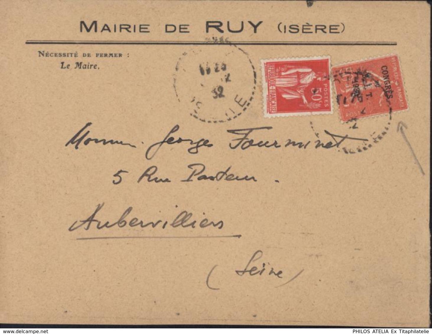 YT 283 264 Semeuse Lignée Congrès Du BIT 1930 CAD Ruy Isère ? 12 32 Arrivée Aubervilliers 9 XII 32 Flamme Poste Aérienne - Poststempel (Briefe)