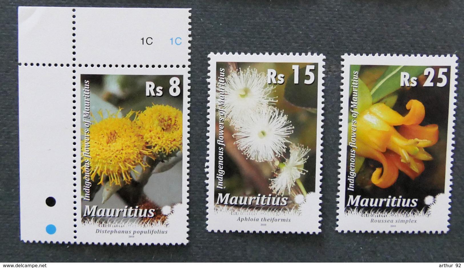 ILE MAURICE - MAURITIUS - 2010 - YT 1115 à 1117 ** - SERIE COURANTE - FLEURS - Mauritius (1968-...)