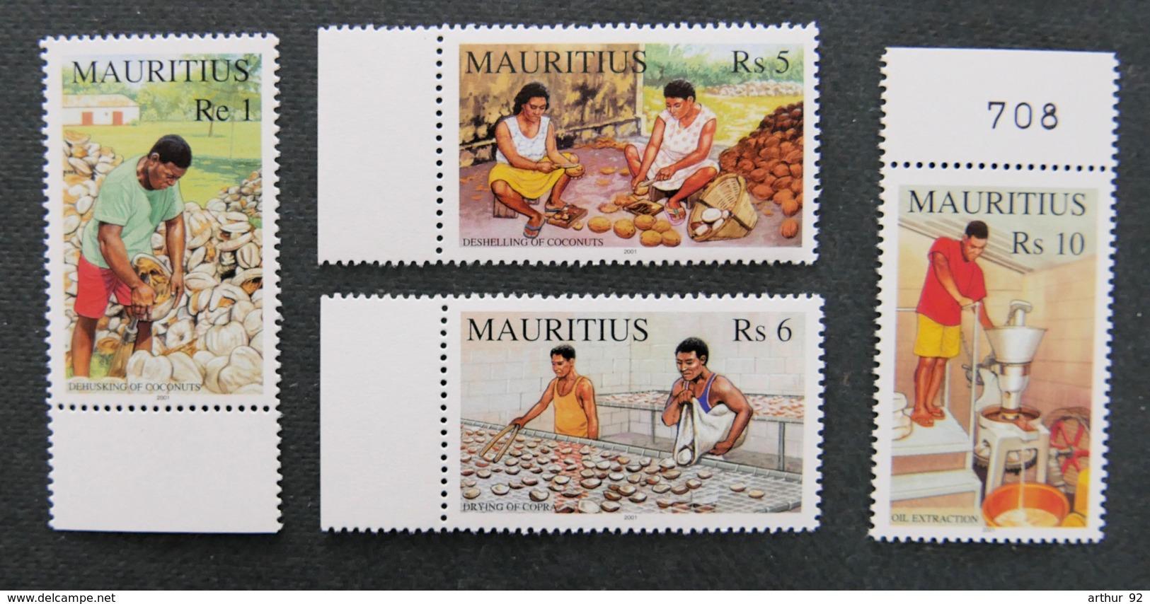 ILE MAURICE - MAURITIUS - 2001 - TAXES - YT 983 à 986 ** - LE COPRA - Mauritius (1968-...)