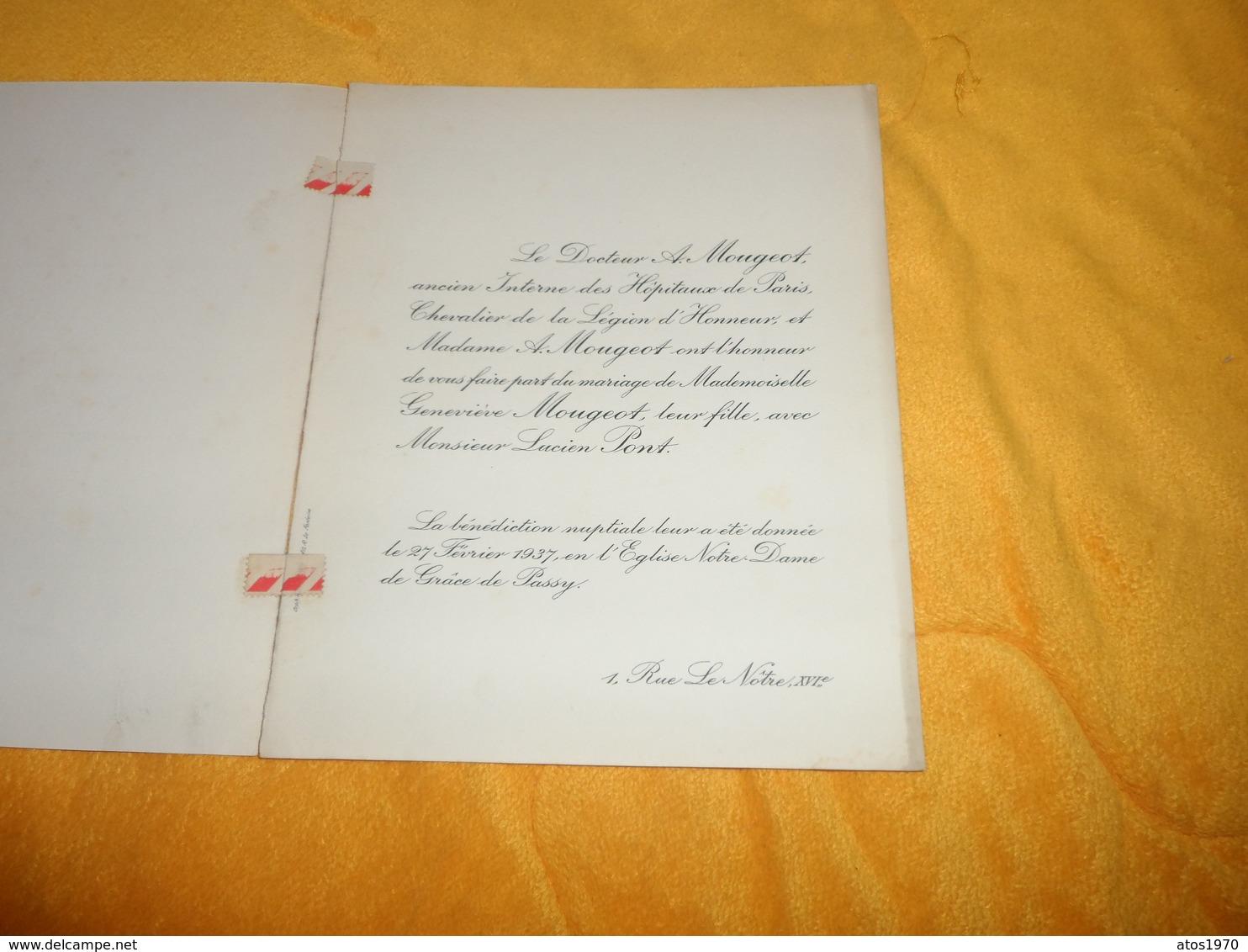 FAIRE PART MARIAGE ANCIEN DE 1937 EN L'EGLISE NOTRE DAME DE GRACE DE PASSY..F. ZIMMERMANN HOTEL DE LA REGION TAMATAVE MA - Mariage