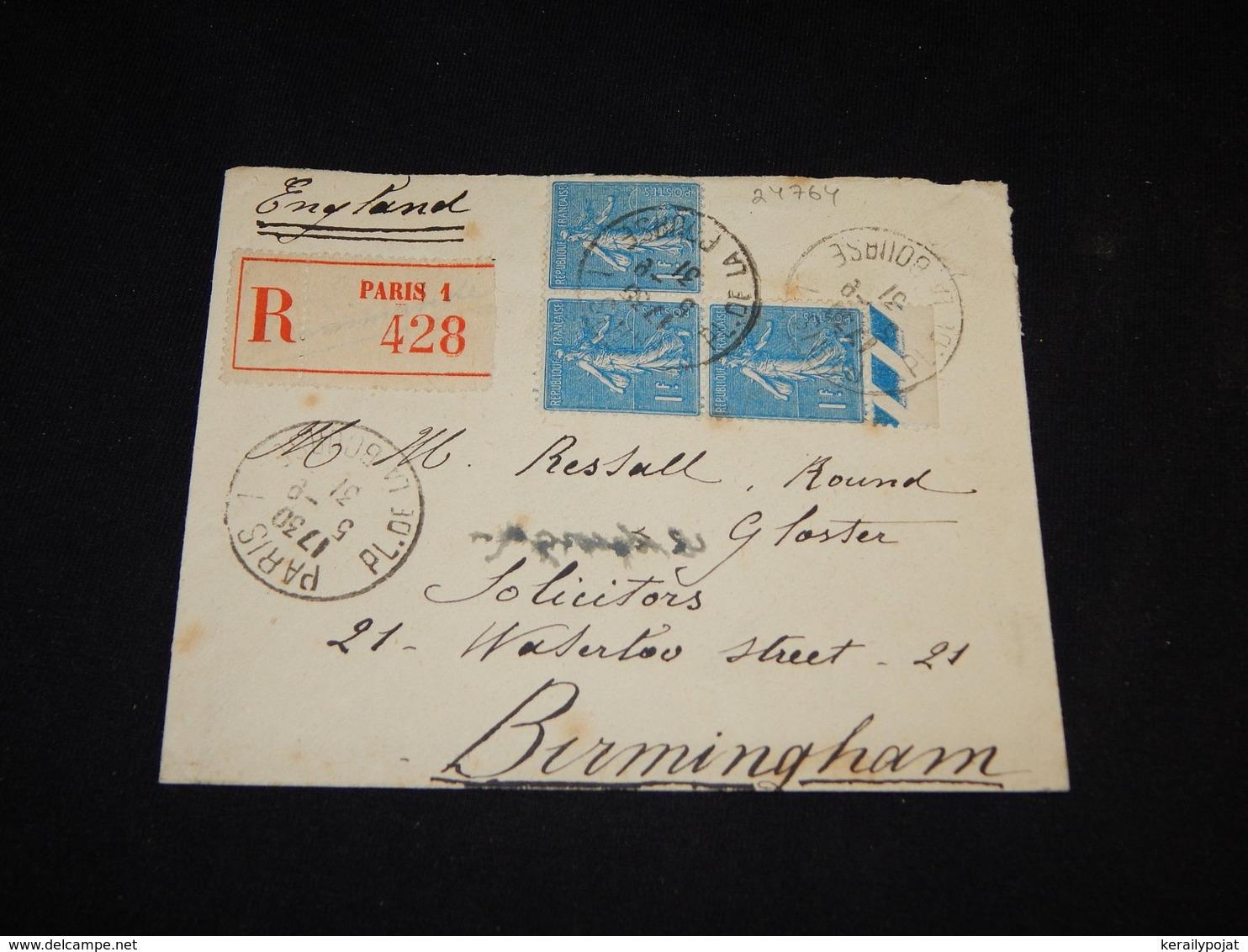 France 1931 Paris Registered Cover To UK__(L-24764) - Francia